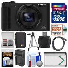 "Sony Cyber-Shot DSC-HX80 Wi-Fi Digital Camera with 32GB Card + Case + Battery & Charger + Tripod + Kit. KIT INCLUDES 12 PRODUCTS -- All BRAND NEW Items with all Manufacturer-supplied Accessories + Full USA Warranties:. [1] Sony Cyber-Shot DSC-HX80 Wi-Fi Digital Camera + [2] Transcend 32GB SDHC 300x Card + [3] Spare NP-BX1 Battery for Sony +. [4] Battery Charger for NP-BX1 + [5] Case Logic MPC-101 Camera Case + [6] PD 50"" Compact Travel Tripod +. [7] HDMI to Micro-HDMI Cable (6') + [8] PD..."