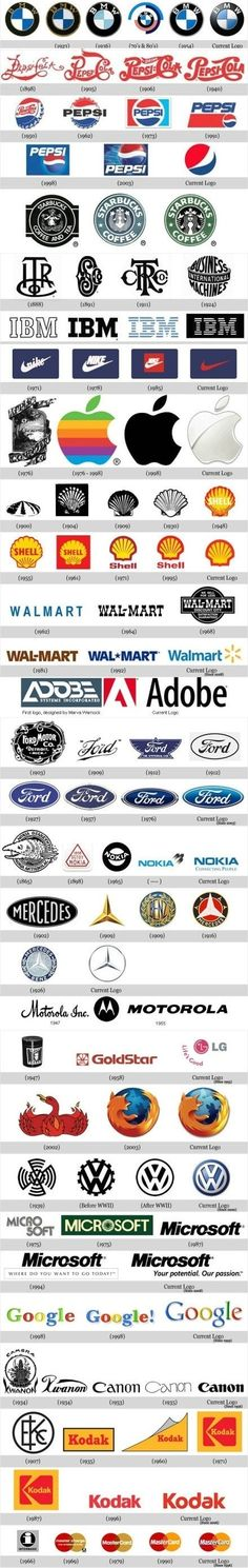 This is an interesting development of some top brand logos. It is interesting to see how the logos have changed and evolved over the years. It seems that they generally became more simplistic, creating a cleaner, more modern tone. Web Design, Logo Design, Identity Design, Visual Identity, Logos Color, Design Graphique, Grafik Design, Corporate Design, Corporate Logos