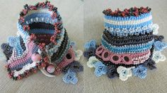 A unique handmade cuff, crochet from a HQ 100% cotton thread , made with resisting and long-lasting glass beads.  Main colors are grey, light