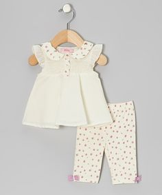Take a look at this Cream Shirred Tunic & Leggings - Infant & Toddler on zulily today!
