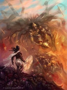 Parashurama( Personal work)- I've been thinking of illustrating some scenes from Mahabharata. This one is the battle between Parashurama and King Arjuna Kartavirya. Having decimated the King's army...