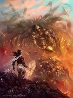 Parashurama( Personal work)- I've been thinking of illustrating some scenes from Mahabharata. This one is the battle between Parashurama and King Arjuna Kartavirya. Having decimated the King's army. Shiva Art, Krishna Art, Hindu Art, Shiva Tandav, Krishna Leela, Shiva Statue, Indian Gods, Indian Art, Angel Demon