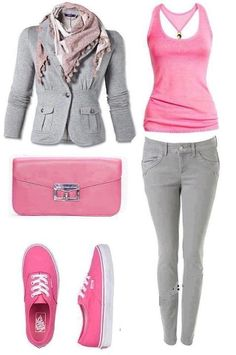 gray and pink !! <3 <3