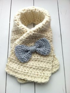 Crochet Toddler Bow Scarf Child Safe Scarf by ChucksForChancho, $16.00