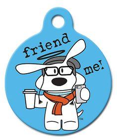 Blue 'Friend Me!' QR Code Dog Tag