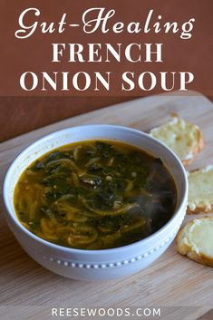 Bone Broth French Onion Soup - Reese Woods Fitness Recipes With Beef Bone Broth, Soup With Beef Broth, Bone Broth Soup, Onion Soup Recipes, Healthy Soup Recipes, French Onion Soup Ingredients, Classic French Onion Soup, Diet, Protein