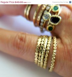ON SALE One Gold Stacking Ring Band 1.4mm Wide by VenexiaJewelry, $38.70