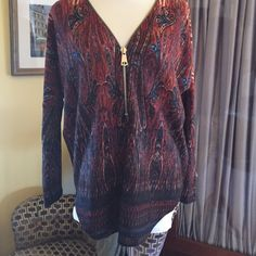 Three-quarter zip sweater Blue and brown paisley three-quarter zip sweater. 100% acrylic by Spence size medium raglan sleeve. Very soft and Boxy. New and never worn Spense Sweaters