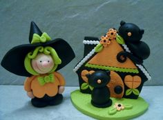 Witch  Black Cat Pair  Halloween Cottage by countrycupboardclay