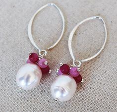 Pink Ruby and Pearl Earrings  Ruby and Baroque Pearl by karioi, $135.00 http://etsy.com/shop/karioi