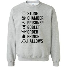 Harry Potter Book Symbols Sweatshirt found on Polyvore featuring polyvore, women's fashion, clothing, tops, hoodies, sweatshirts, shirts, sweaters, harry potter and shirt top