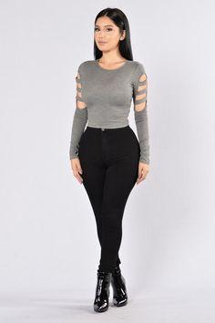 Sideways Top - Heather Grey