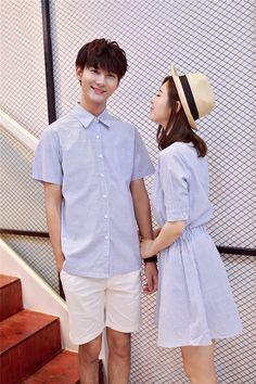 4e00af5687dd Summer Matching Couple Clothes Blue Stripe Male Shirt Female Mini Shirtdress
