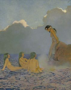 """""""Proserpina and the Sea Nymphs Art by American painter Maxfield Parrish"""" Art Romantique, Maxfield Parrish, Water Nymphs, Mermaid Art, Mermaid Paintings, Mermaid Tails, Tattoo Mermaid, Vintage Mermaid, Art Plastique"""