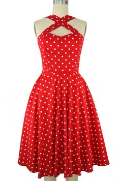 caged heart sun dress with pockets - red & white polka dot