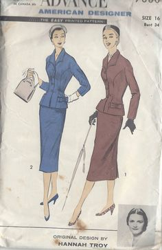 1950s Vintage Sewing Pattern B34-W28 SUIT-JACKET & SKIRT (R665) By HANNAH TROY