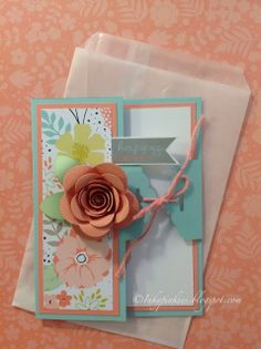 Spiral Flower on Tag Topper Side Fold Card - InkyPinkies...