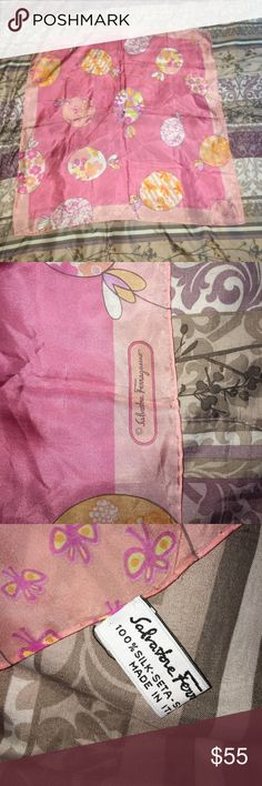 Salvatore Ferragamo pink silk scarf with balloons A stunning silk scarf with pink balloons. Still nice and crisp. Will surely add a pop to any outfit. Made in italy. 100% authentic. Ferragamo Accessories Scarves & Wraps