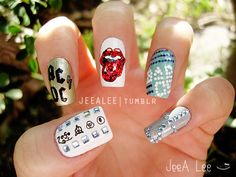 Are you fond of nail art design or nail polish designs which will make your nails look awesome? Check out some easy nail designs or simple nail designs and read them to know how to do nails. Nail Polish Art, New Nail Art, Nail Polish Designs, Cool Nail Art, Nail Art Designs, Band Nails, Rock Nails, Lee Nails, Music Nails