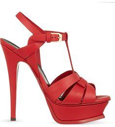 SAINT LAURENT - Tribute 105 leather heeled sandals   Selfridges.com