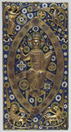 The most lavish medieval books were bound in covers set with enamels, jewels, and ivory carvings.    Book Cover Plaque: Christ in Majesty, ca. 1185–1210 French    Gilded copper and champlevé enamel