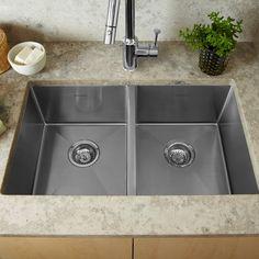 American Standard Prevoir Stainless Steel Undermount 35 Inch by 18 Inch 2-Bowl Kitchen Sink