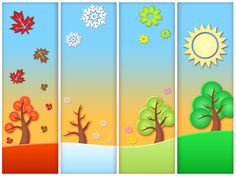 Risultati immagini per pory roku obrazek Preschool Themes, Activities For Kids, Weather For Kids, 4 Seasons Weather, Four Seasons Art, Kindergarten Calendar, Iris Folding Templates, Diy And Crafts, Four Seasons