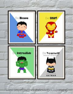 Superhero Print Set, Superhero Wall Art, Boys Room Decor, Superhero Art…