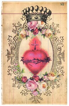 Sacred Heart - Vintage Paper Collage. Tags: Cross, Ephemera, DIY Paper Craft, Mixed Media Art, ATC, Card, Graphic, Illustration, Religious Icon,