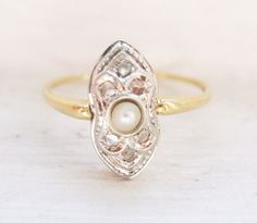 My Dream Ring... Except with Morganite as the center.. Edwardian Style Cultured Pearl & Rose Cut Diamonds 18K Engagement Ring