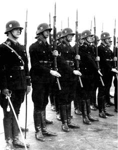 Soldiers of German 1st SS Division Leibstandarte SS Adolf Hitler in full dress uniform with Kar 98b rifles, circa 1937-1938