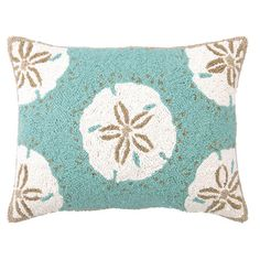 Hand-hooked wool and cotton canvas pillow with a sand dollar motif.