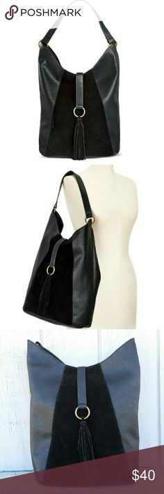 """Black Hobo Handbag Slouch hobo with open fringe tab. Front faux suede accent panel. Fabric Interior. Zip pocket/two slip. Goldtone hardware. 11"""" drop.  Dimensions:  14"""" h x 14.75 w x 6"""" deep  NO Trade / NO Paypal Bags Hobos"""