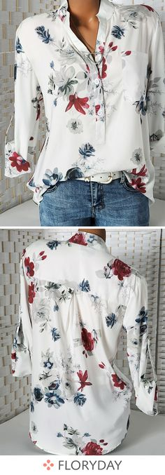Floral Casual Collar Long Sleeve Blouses floral blouse blouses casual blouse collar long sleeve warm blouse casual tops stunning lovely blouses new style. Look Fashion, Autumn Fashion, Fashion Outfits, Womens Fashion, Fashion Trends, Fashion Art, Fashion Online, Fashion Tips, Pretty Outfits