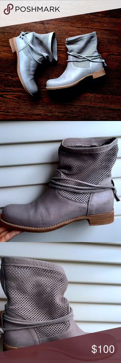 Sundance grey slouch bootie  This is a gorgeous shoe! It has diamond cutouts at the top to make it very breathable. It has a leather upper and a leather sock with a rubber sole. It is the perfect bootie for summer time! sundance  Shoes Ankle Boots & Booties