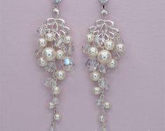 Pendientes de novia perla E2017 pendientes Plata por adriajewelry