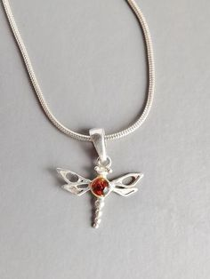 Dragonfly amber silver pendant necklace .. snake chain insect 925 jewellery