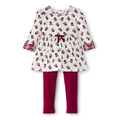 Infant Toddler Girls' Floral Tunic and Legging Set - Almond Cream
