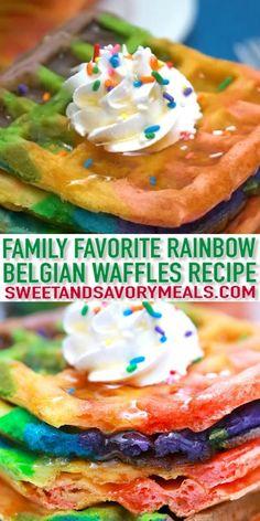 Bakery Recipes, Waffle Recipes, Brunch Recipes, Mexican Food Recipes, Sweet Recipes, Easy Recipes, Delicious Breakfast Recipes, Yummy Food, Rainbow Waffles