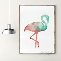 Geometric Coral Flamingo Canvas Art Print Poster, Wall Pictures for Home Decoration, Frame not include FA237-15