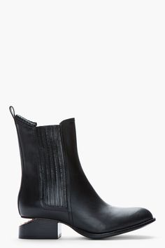 ALEXANDER WANG Black leather rose gold-heeled Anouck Chelsea Boots