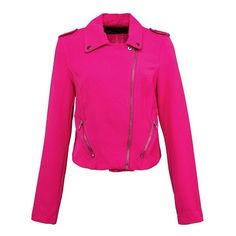 Hot Pink Cropped Biker Jacket ($36) ❤ liked on Polyvore featuring outerwear, jackets, biker jacket, zip jacket, cropped motorcycle jacket, zipper jacket and cropped jacket