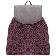 Yoins Purple Straw-Woven Lined Beach Backpack ($25) ❤ liked on Polyvore featuring bags, backpacks, handbags, purple, drawstring backpack, woven bag, woven straw bag, woven backpack and beach backpack