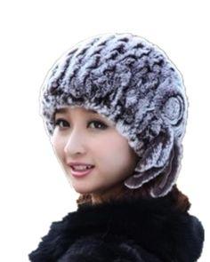 H295-autumn winter natural rex rabbit hair floral  beanies  fashion women's knitted warm red fur hat