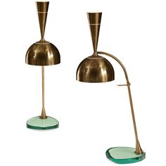 Roberto Rida: A Large Pair of Adjustable Brass and Vintage Glass Doppio Conetto Lamps | From a unique collection of antique and modern table lamps at http://www.1stdibs.com/furniture/lighting/table-lamps/