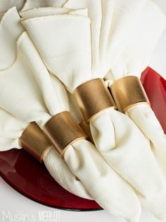 Muslin and Merlot: PVC Napkin Rings -- see if the folks at Lowes will cut the pipe for you.