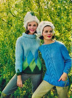 Knits from 1963 Seventeen Magazine I knited many a sweater like these.