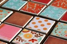Make your own coasters- 4x4 tiles ($.16 Home Depot); 4x4 scrapbook paper; adhere to tile with Mod Podge and let dry; Spray a coat of clear spray paint and let dry; attach felt pads to the bottom - Click image to find more DIY & Crafts Pinterest pins