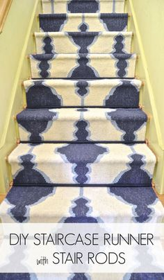 DIY Staircase Runner with Stair Rods... For Cheap featuring Rugs USA's Tuscan Trellis VS68 runners!