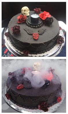 Black Buttercream Skull Cake made by me